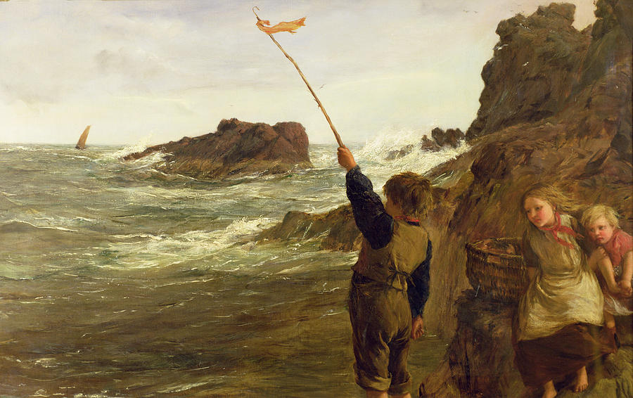 Rescue Painting - Caught By The Tide by James Clarke Hook