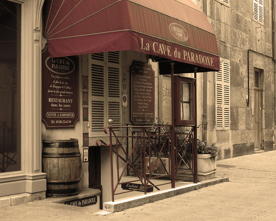 Wine Shop Photograph - Cave Du Paradoxe Wine Shop In Beaune France by Greg Matchick