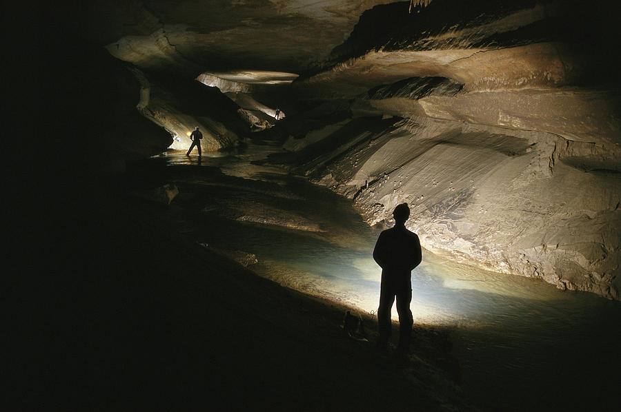 Caves Photograph - Cavers Stand In The New Discover by Stephen Alvarez
