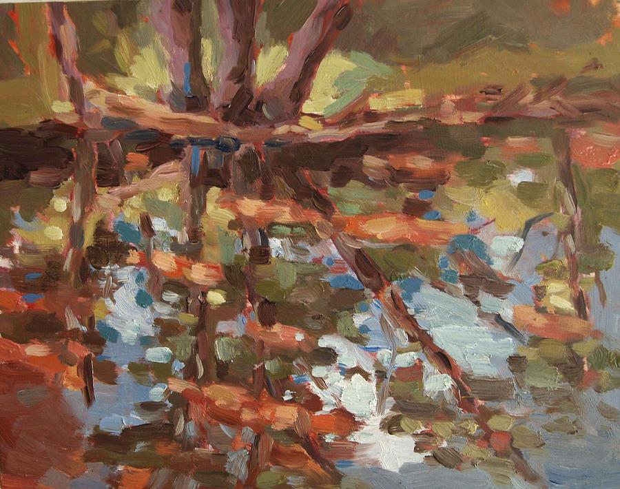 Cedarburg Wisconsin Painting - Cedar Creek Reflection by Jenny Anderson