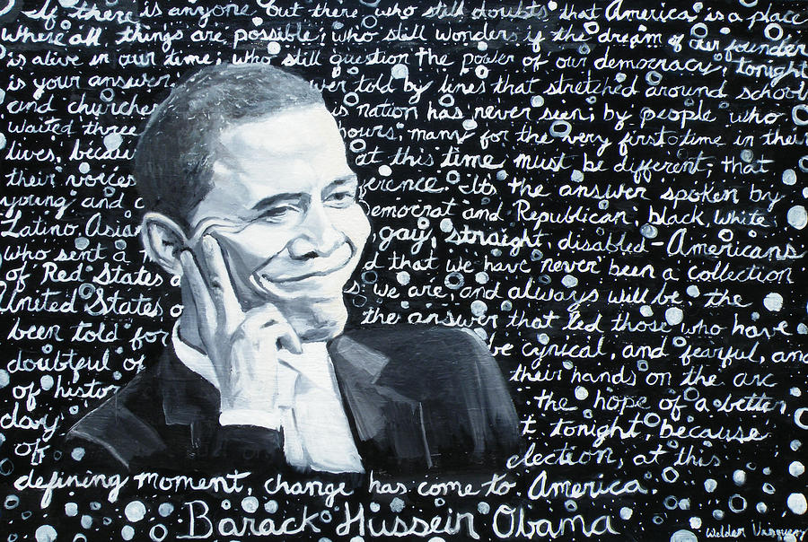 Barack Painting - Celebrate Change by Welder Ramiro Vasquez