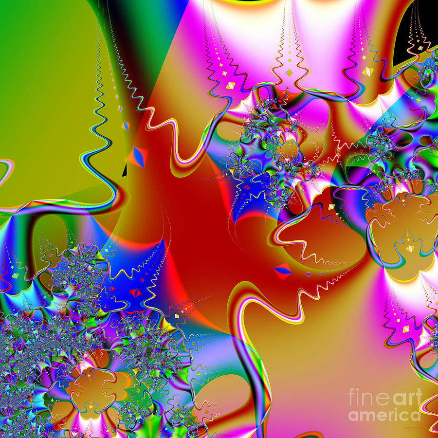 Fractal Digital Art - Celebration . Square . S16 by Wingsdomain Art and Photography