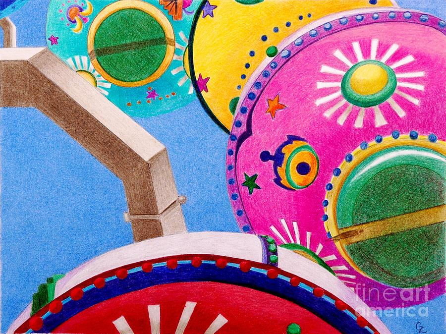 Ferris Wheel Drawing - Celestial Ferris Wheel by Glenda Zuckerman