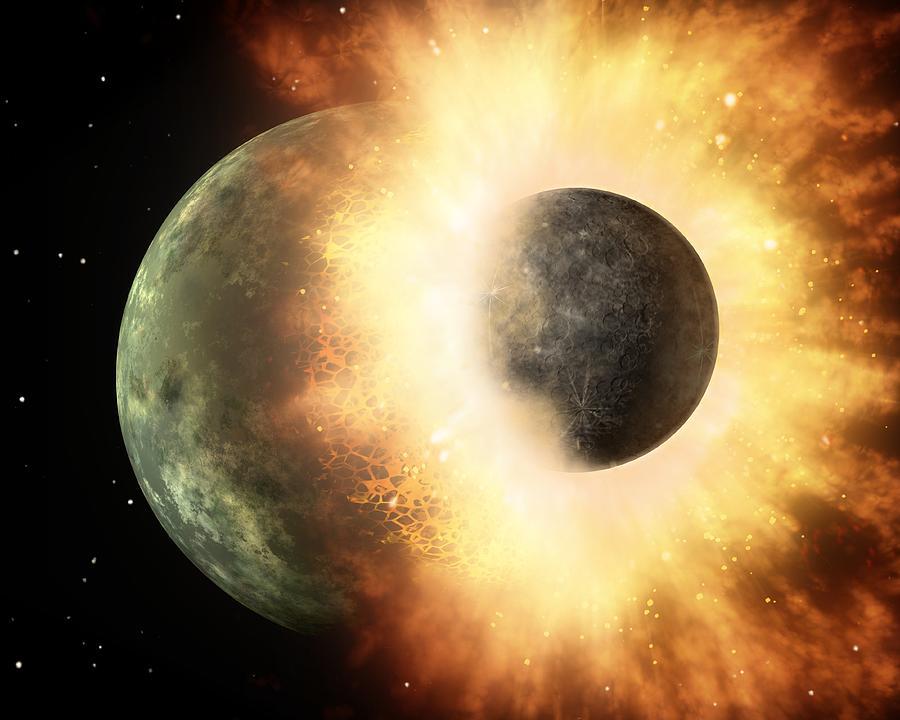 Alien Photograph - Celestial Impact, Artwork by Nasajpl-caltech