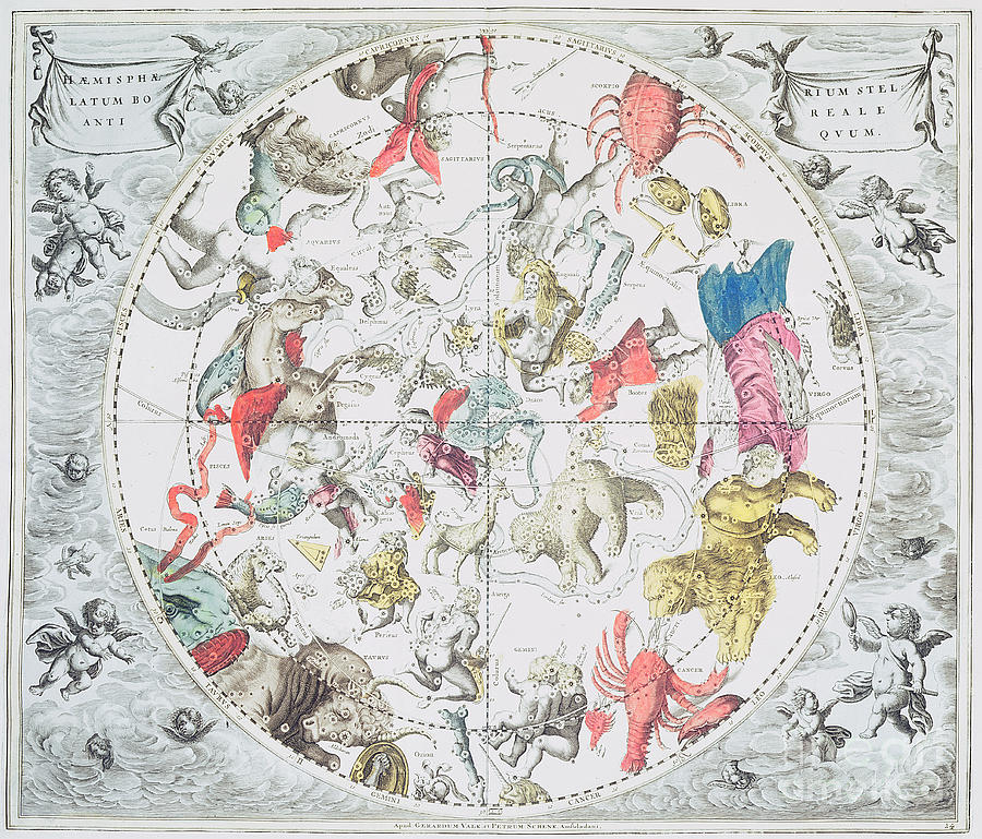 Celestial Drawing - Celestial Planisphere Showing The Signs Of The Zodiac by Andreas Cellarius