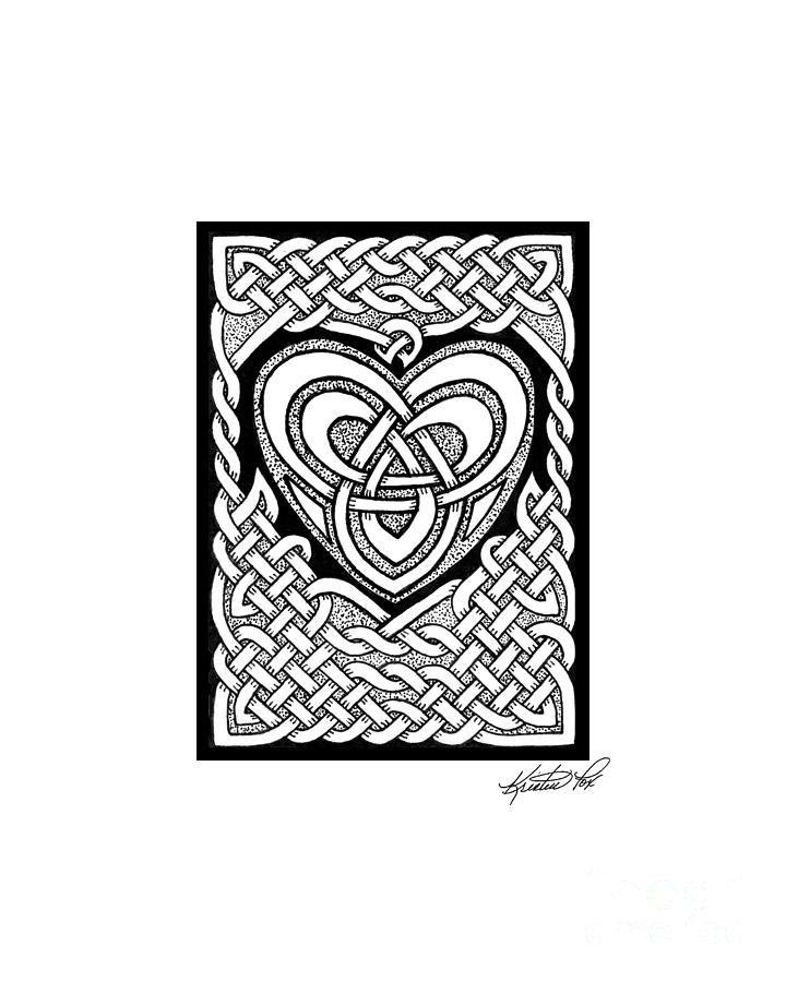 Celtic Drawing - Celtic Knotwork Heart by Kristen Fox