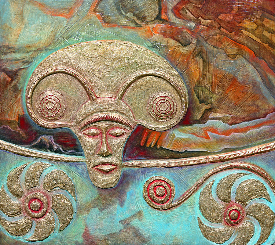 Celtic Art Relief - Celtic Warrior Ritual Mask by Zoran Peshich