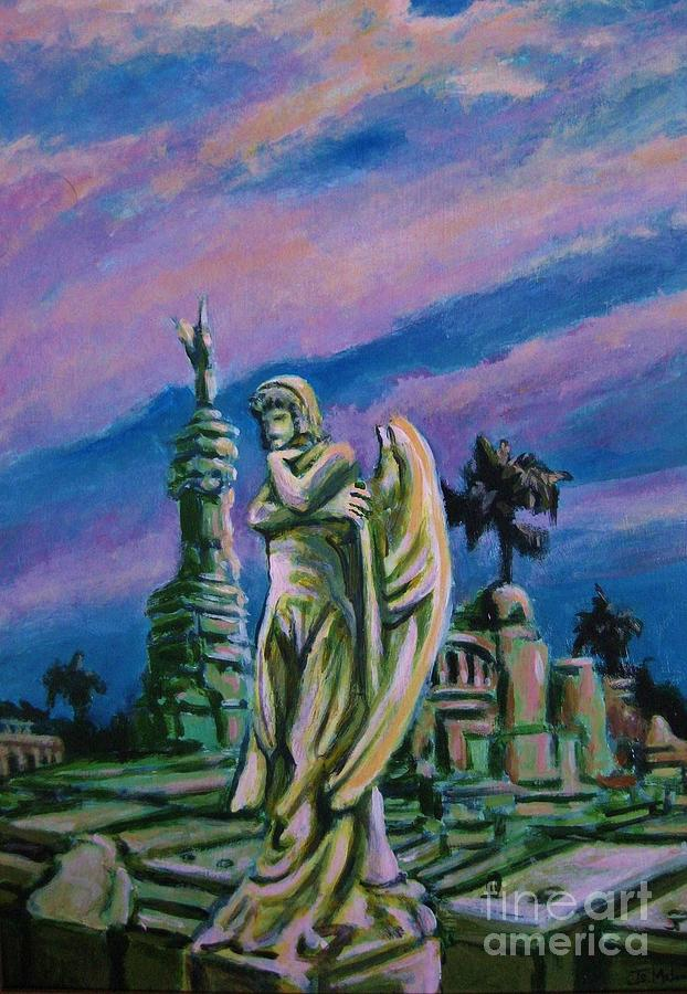 Angel Painting - Cemetary Guardian by John Malone