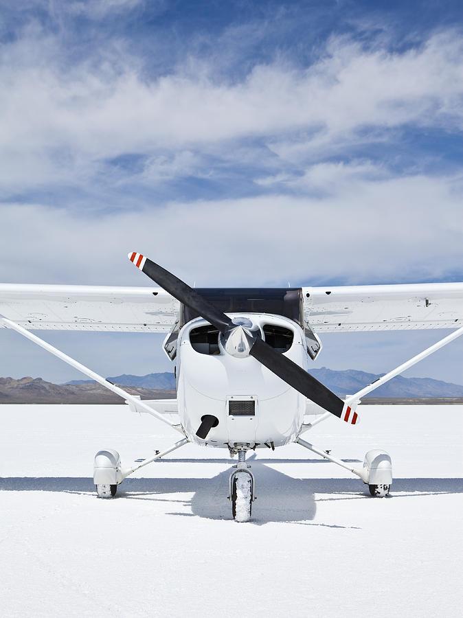 No People Photograph - Cessna Aircraft On Bonneville Salt Flats by Paul Edmondson