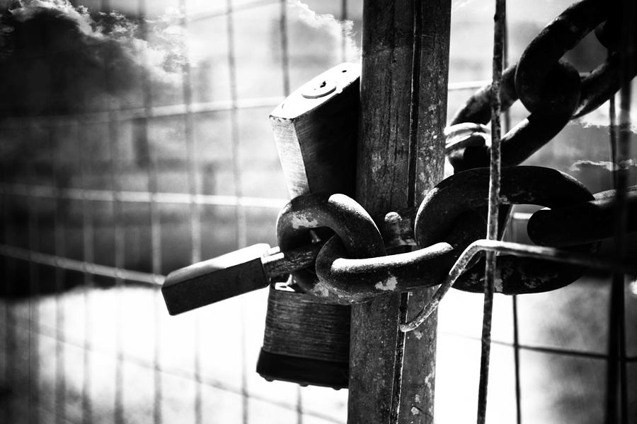 Labor Photograph - Chained Gate by Phill Petrovic