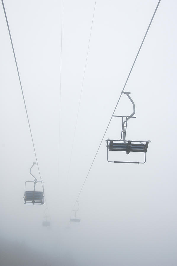 Misty Photograph - Chairlift In The Fog by Matthias Hauser