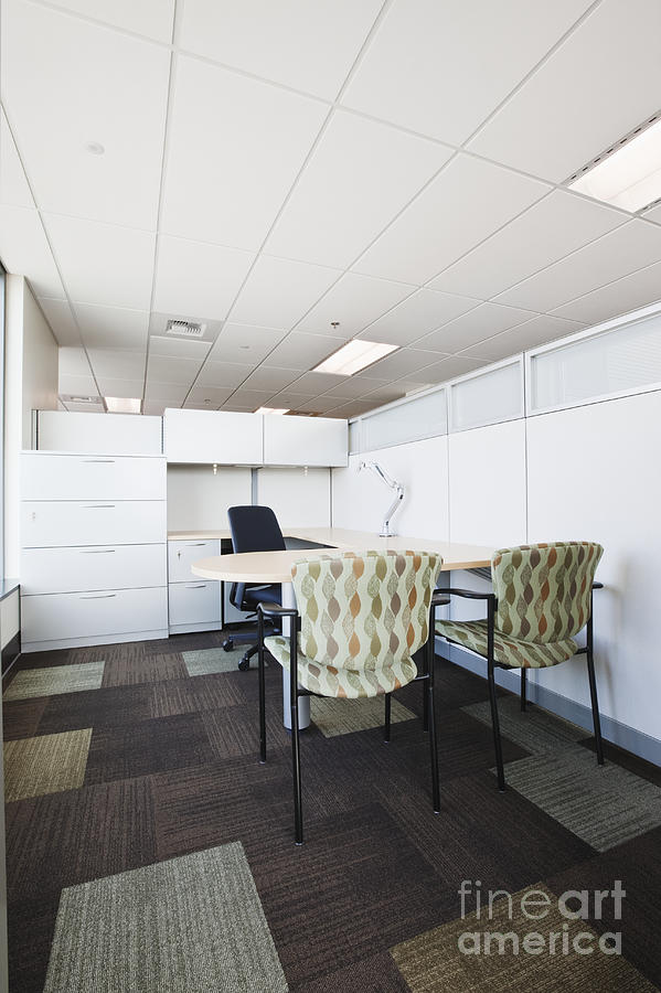 Architecture Photograph - Chairs And Desk In Office Cubicle by Jetta Productions, Inc