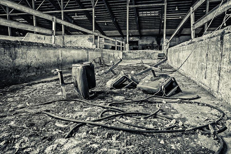 Monochrome Photograph - Chairs Undone by CJ Schmit