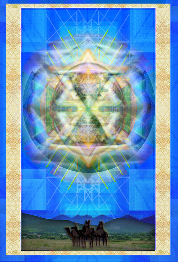 Solstice Digital Art - Chalice Star Over Three Kings Holiday Card Xabrti by Christopher Pringer