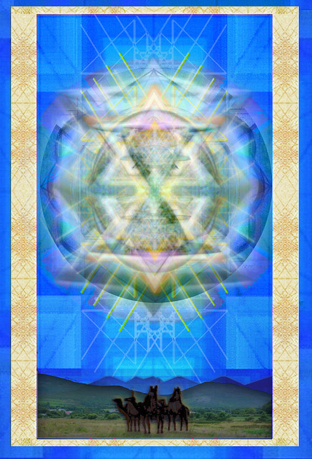 Solstice Digital Art - Chalice Star Over Three Kings Holiday Card Xci by Christopher Pringer