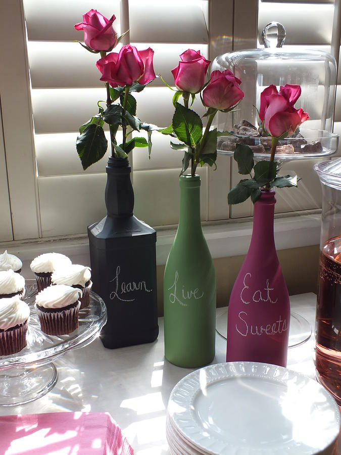 Wine Bottle Glass Art - Chalkboard Bottles by Anna Villarreal Garbis