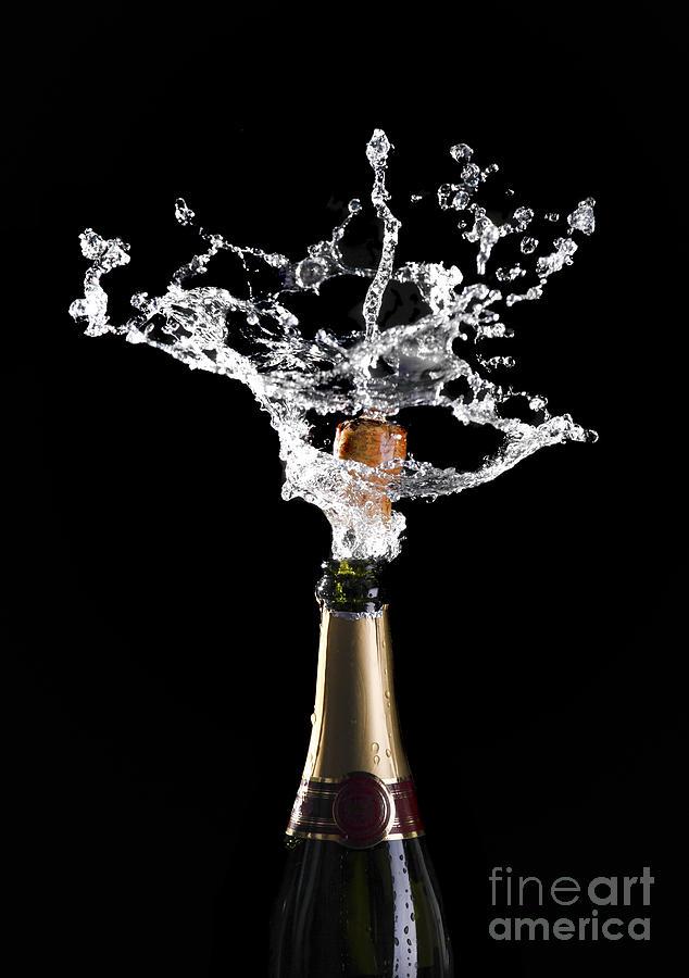 Champagne Photograph - Champagne Cork Explosion by Gualtiero Boffi