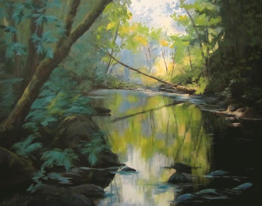 Landscape Painting - Champagne Creek by Karen Ilari
