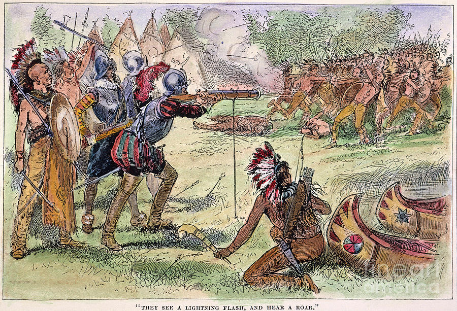 Champlain Fighting Native Americans Photograph By Granger