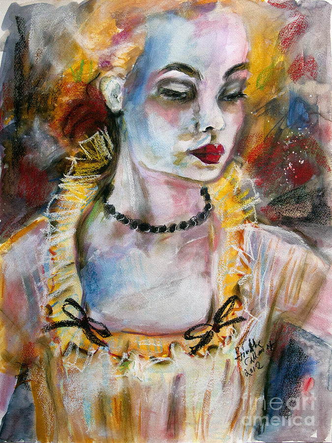 Faces Painting - Chantalle And Her Sheer Blouse by Ginette Callaway