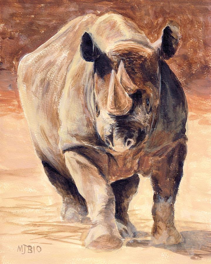Charging Rhino Painting By Michael Beckett
