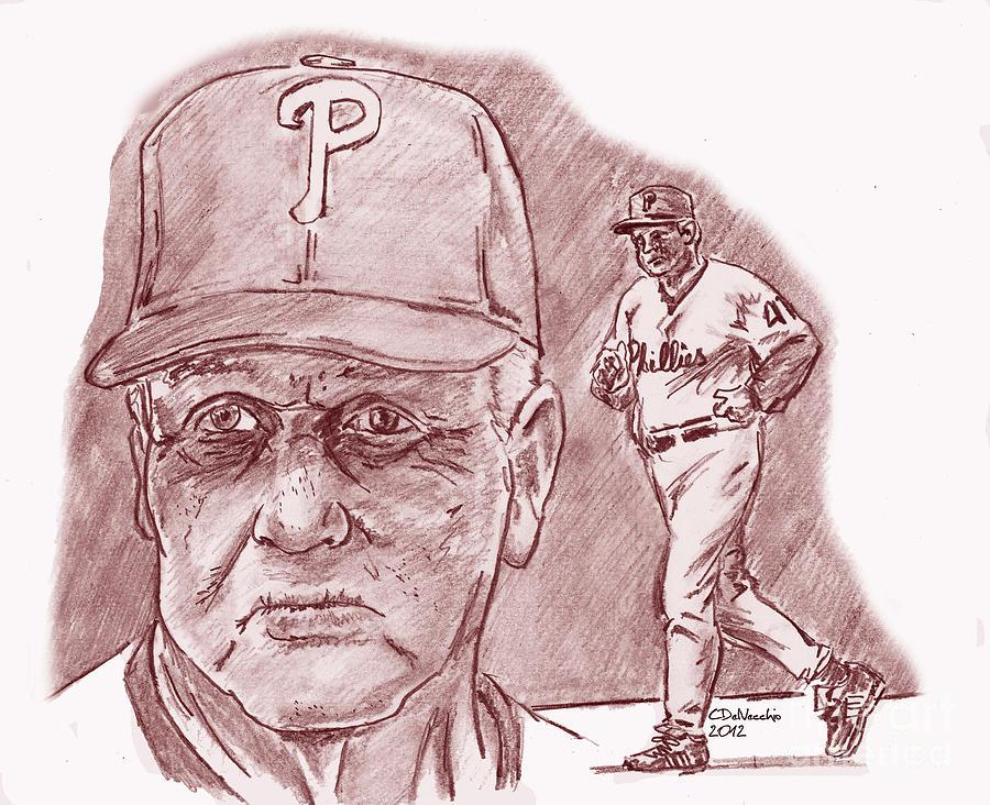 Charlie Manuel Drawing by Chris  DelVecchio