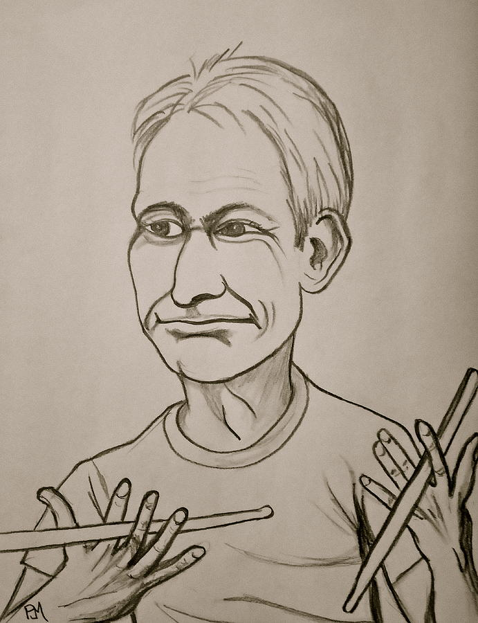 Charlie Watts Drawing - Charlie Watts by Pete Maier