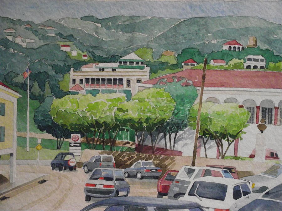 Downtown. Caribbean City Painting - Charlotte Amalie Tolbad Gade by Robert Rohrich