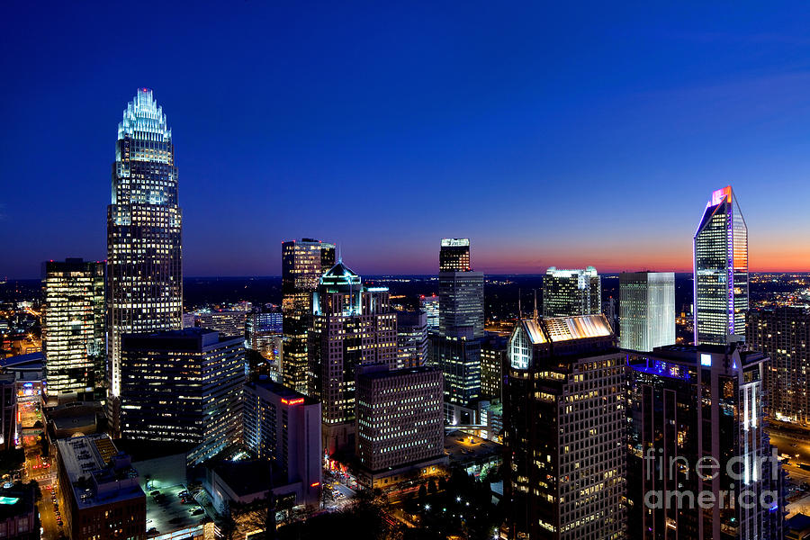 Charlotte Nc Downtown At Dusk Photograph By Patrick Schneider
