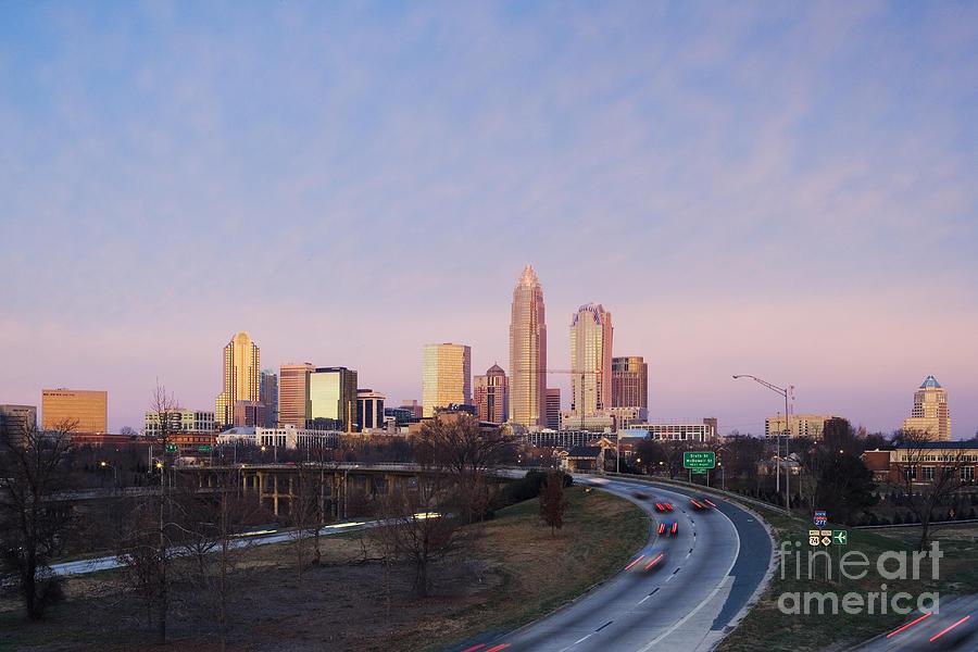 Architecture Photograph - Charlotte Skyline At Sunrise by Jeremy Woodhouse