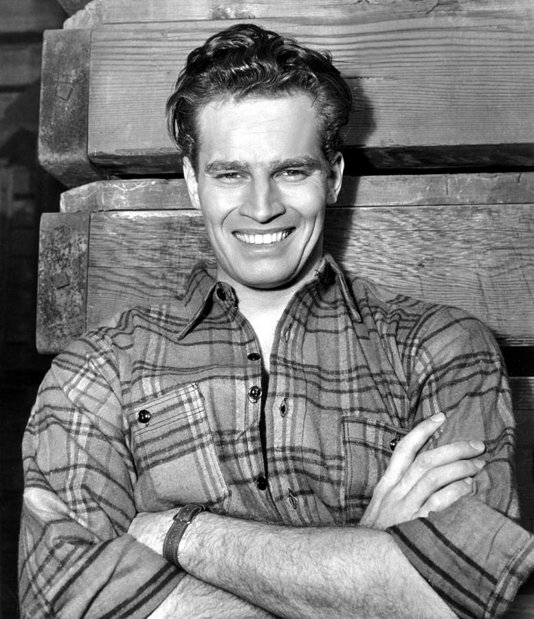Flannel Shirt Photograph - Charlton Heston, Paramount Pictures by Everett