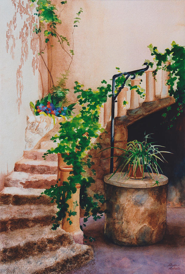 Beautiful Staircases Painting - Charming California Courtyard by Eve Riser Roberts