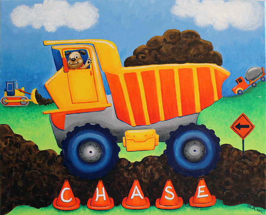 Construction Painting - Chases Truck by Jennifer Alvarez