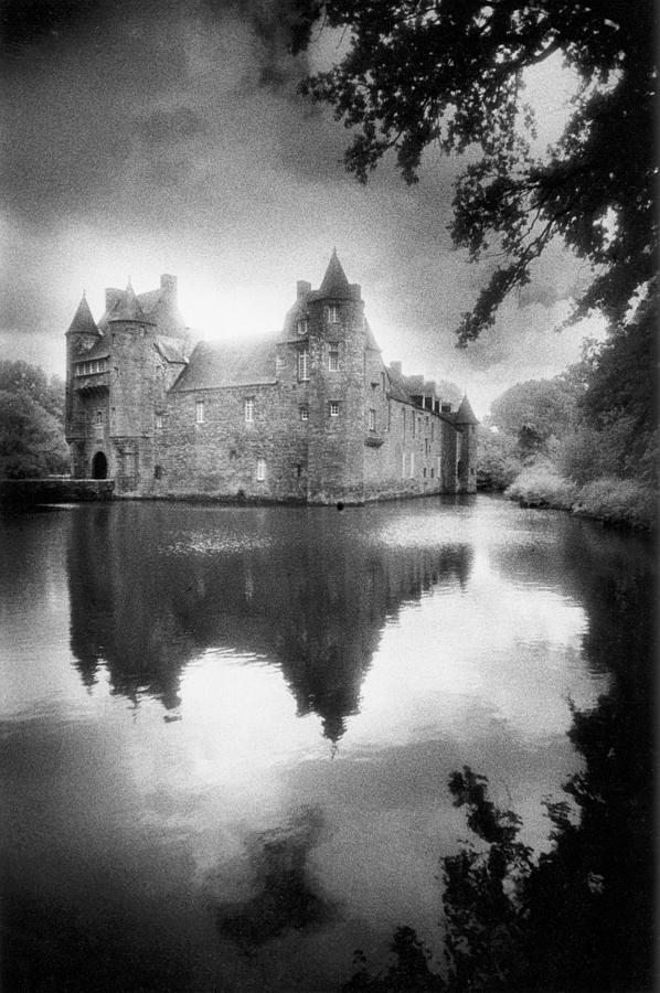 Architecture; French; Medieval; Castle; Palace; Moat; Moated Fort; Fortress; Towers; Misty; Reflection; Exterior; Facade Photograph - Chateau De Trecesson by Simon Marsden