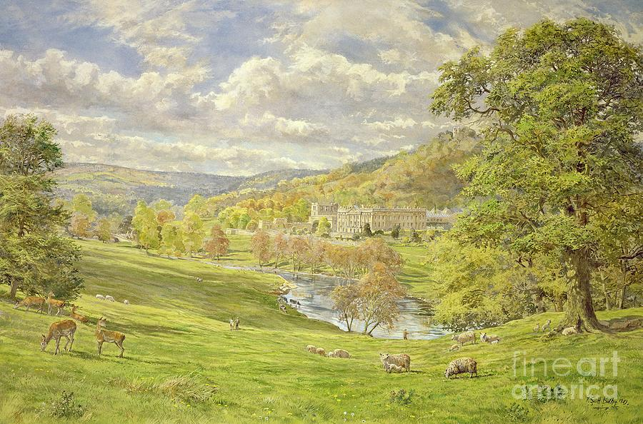 Landscape; Deer; Park; Sheep; Pastoral; Stately Home; Duke Of Devonshire; Devonshire; Chatsworth; Tree; Trees; Hill; Hills; Water; Green; Grass; Tranquil; Serene Animals; Grazing Painting - Chatsworth by Tim Scott Bolton