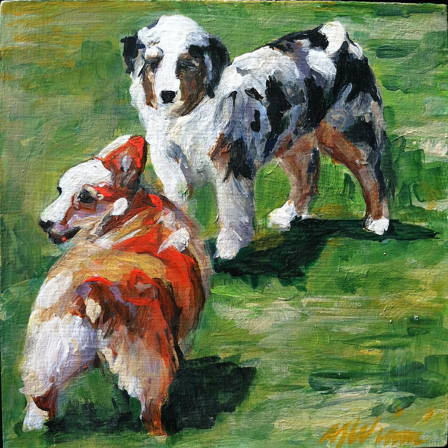 Dogs Painting - Check It Out by Michelle Winnie