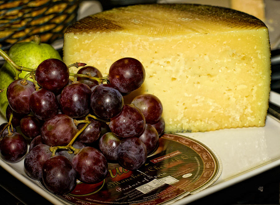 Yellow Photograph - Cheese And Grapes by Barbara Middleton