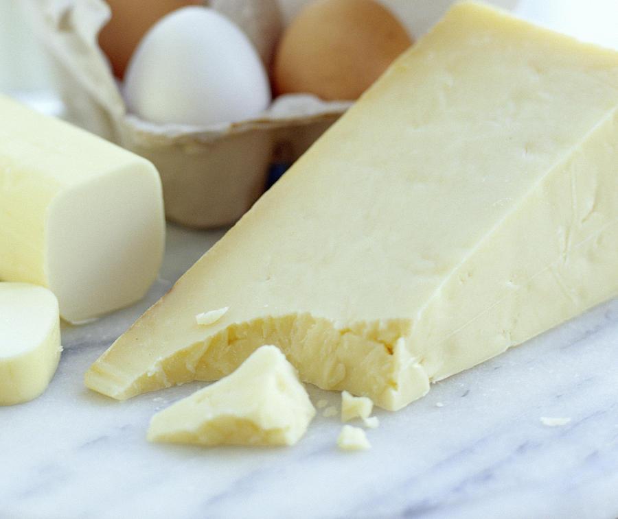 Food Photograph - Cheeses And Eggs by David Munns
