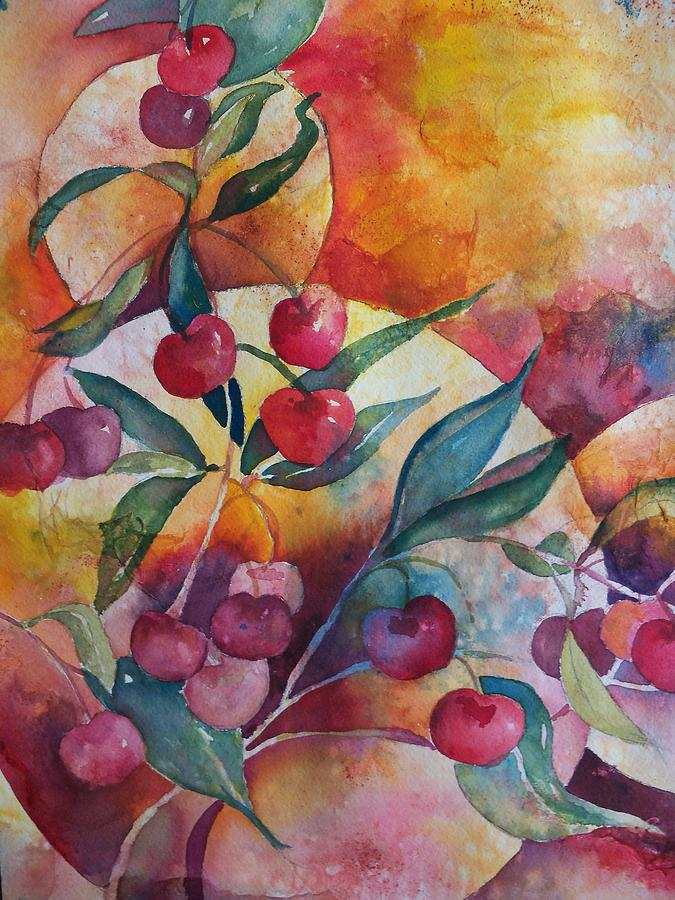 Nature Painting - Cherries In The Sun by Sandy Collier