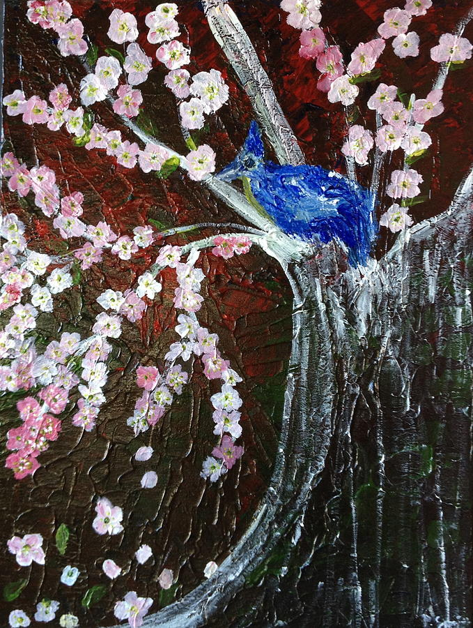 Blue Bird Painting - Cherry Blossom And Blue Bird  by Pretchill Smith