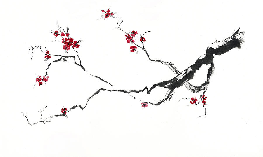 Watercolor Painting - Cherry Blossom by Jitka Krause
