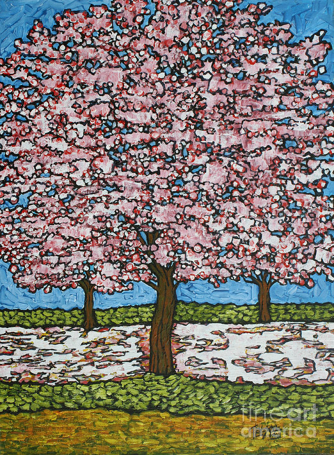 Landscape Painting - Cherry Blossom Trio by Tracy Levesque