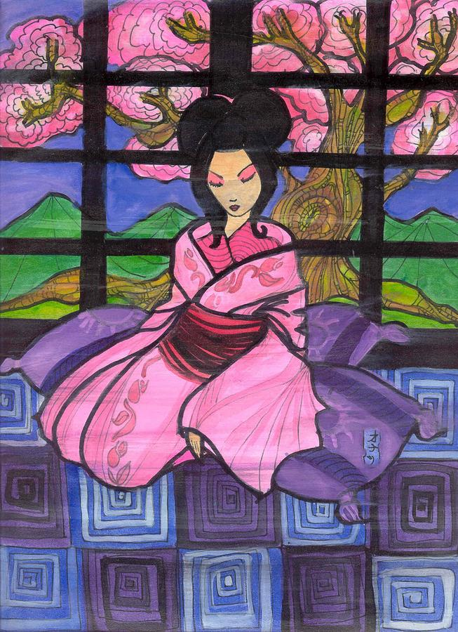 Geisha Drawing - Cherry Blossoms by Jonathan Quines