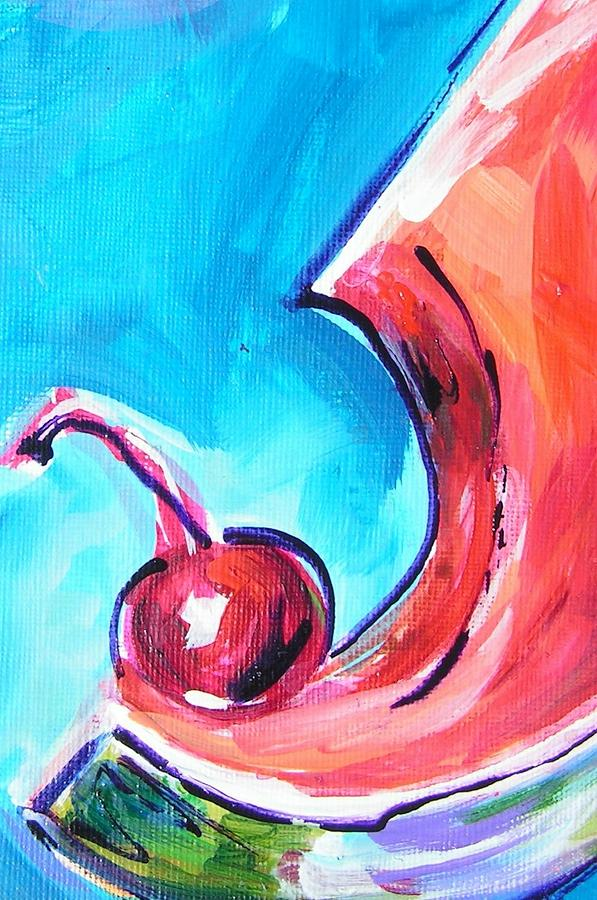 Watermelon Slice Painting - Cherry Gulp by Judy  Rogan
