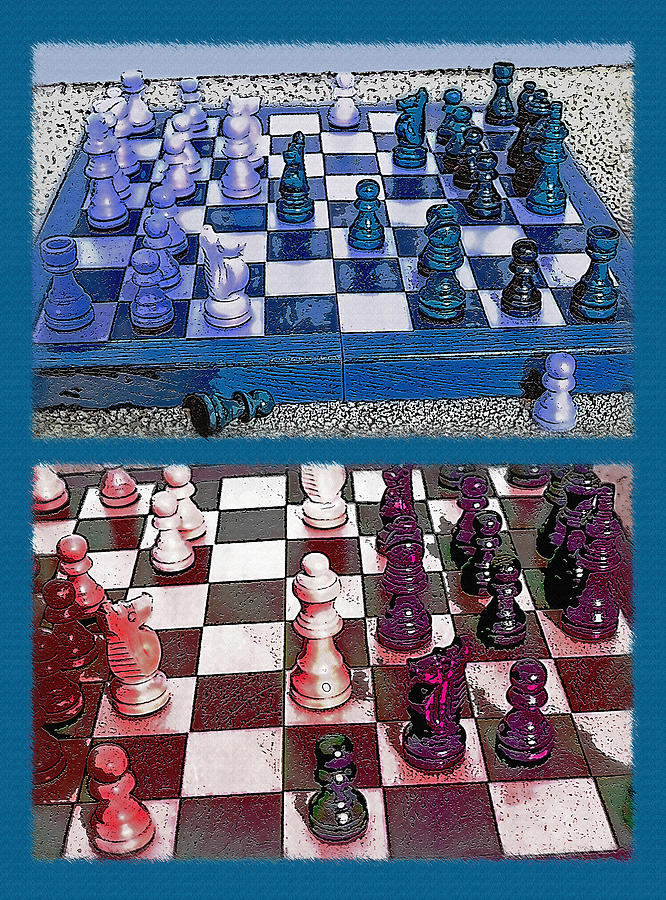 Chess Photograph - Chess Board - Game In Progress Diptych by Steve Ohlsen