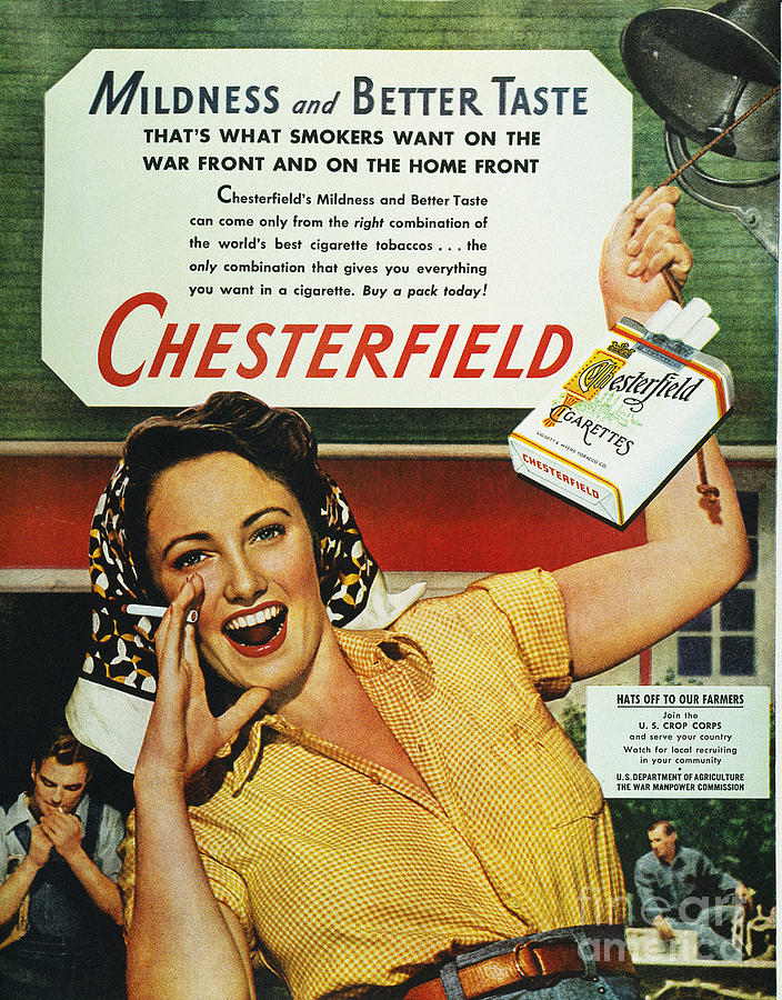 1943 Photograph - Chesterfield Cigarette Ad by Granger