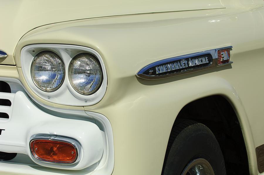 Headlight Photograph - Chevrolet Apache 31 Fleetline Headlight Emblem by Jill Reger