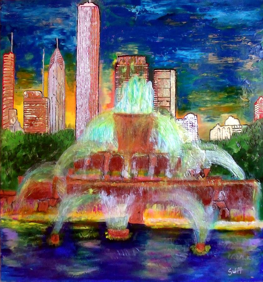 Chicago Painting - Chicacgo Buckingham Fountain by Char Swift