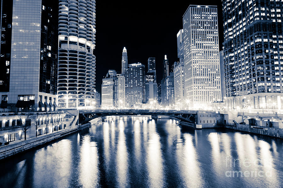America Photograph - Chicago At Night At Dearborn Street Bridge by Paul Velgos