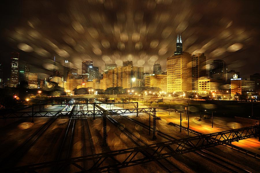 Chicago At Nite. Digital Art by Steve Augle